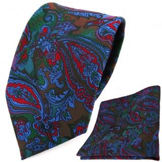 TigerTie Designer Krawatte +Einstecktuch rot blau flieder grün Paisley gemustert