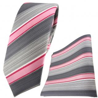 schmale TigerTie Seidenkrawatte + Einstecktuch in rosa grau anthrazit gestreift