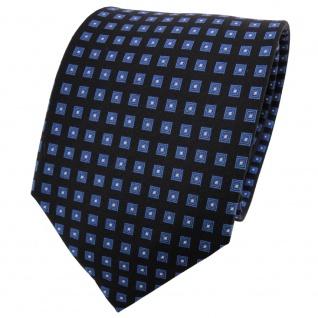 TigerTie Seidenkrawatte blau schwarz silber kariert - Krawatte 100% Seide