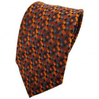 TigerTie Krawatte orange rotorange schwarz anthrazit grau gemustert - Binder