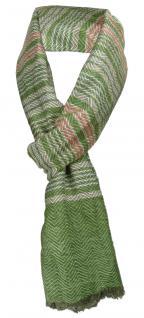 TigerTie Designer Schal in grün grau silber rot gestreift - Gr. 180 x 50 cm