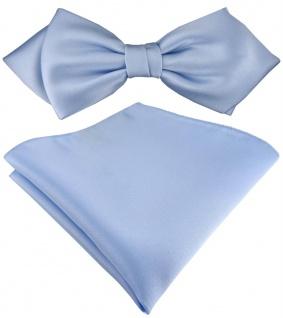 vorgebundene TigerTie Spitzfliege + Einstecktuch in hellblau Uni einfarbig + Box