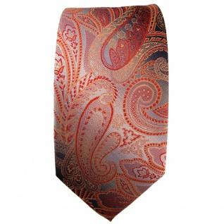 Schmale TigerTie Seidenkrawatte orange rot anthrazit grau Paisley - Krawatte tie - Vorschau 2
