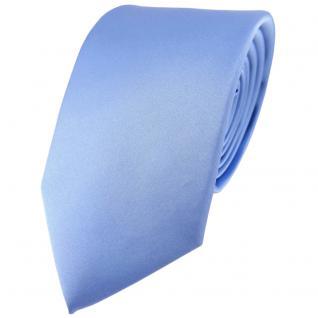 TigerTie Satin Seidenkrawatte in blau einfarbig Uni - Krawatte 100% Seide