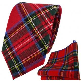 TigerTie Krawatte + Einstecktuch rot grün blau gelb silber kariert - 100% Wolle