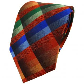 TigerTie Designer Krawatte in orange blau grün braun kariert - Binder Tie