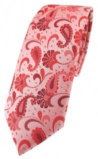 schmale TigerTie Designer Krawatte in rose weinrot silberrosa Paisley gemustert