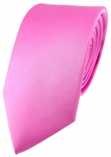 Designer Satin Krawatte pink rosa Uni - 100 % Seide