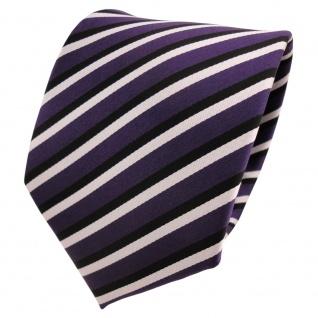 TigerTie Designer Krawatte lila dunkellila schwarz weiß gestreift - Binder Tie