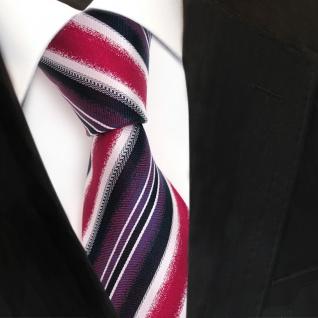 Designer Seidenkrawatte rot lila magenta silber royal gestreift - Krawatte Seide - Vorschau 3