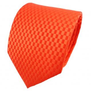 TigerTie Satin Seidenkrawatte orange rotorange kariert - Krawatte Seide Binder