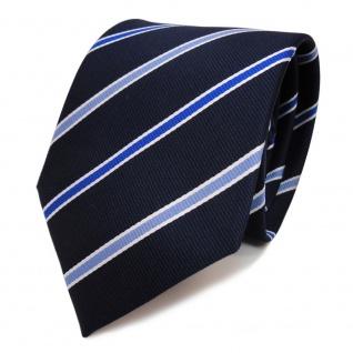 TigerTie Krawatte blau royal schwarzblau weiss gestreift - Schlips Binder Tie