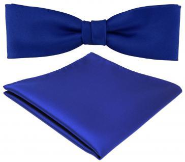schmale TigerTie Fliege + Einstecktuch blau royalblau leuchtblau einfarbig + Box
