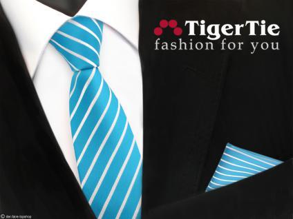 schmale TigerTie Krawatte + Einstecktuch türkis türkisblau weiß silber gestreift