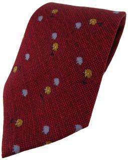 Feine leichte Seidenkrawatte rot weinrot blau gold gemustert - Krawatte Seide