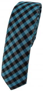 schmale TigerTie Krawatte Schlips in türkis anthrazit schwarz kariert (4, 5 cm)
