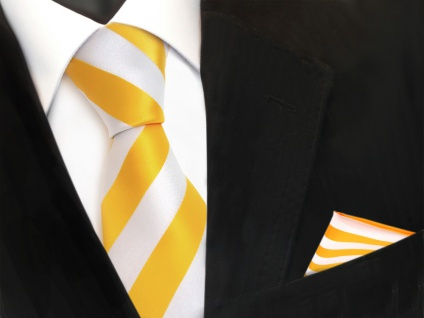 Schicke Designer TigerTie Krawatte + Einstecktuch gelb goldgelb weiss gestreift