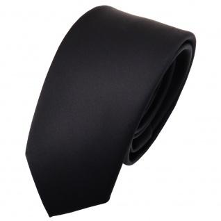 Schmale Kinderkrawatte Satin schwarz uni einfarbig - Krawatte Tie Binder Schlips
