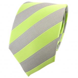schöne TigerTie Krawatte in hellgrün grausilber gestreift - Binder Tie