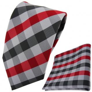 schöne TigerTie Krawatte + Einstecktuch rot dunkelrot grau anthrazit kariert
