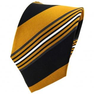 TigerTie Seidenkrawatte braun ocker schwarz anthrazit silber gestreift- Krawatte