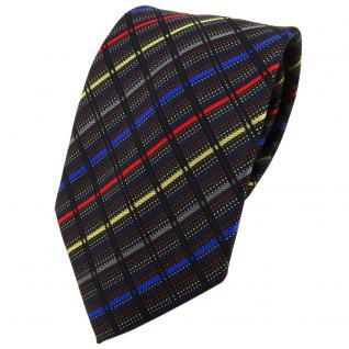 TigerTie Designer Krawatte in anthrazit gold rot blau schwarz gestreift - Binder