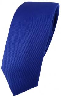 schmale TigerTie Designer Krawatte in royal blau einfarbig uni Rips