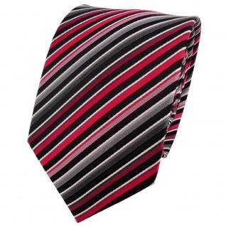 Enrico Sarto hochwertige Seidenkrawatte rot anthrazit grau silber gestreift