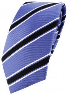 XXL TigerTie Seidenkrawatte blau schwarz weiß gestreift - Überlänge 170 x 7 cm