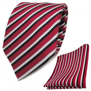 TigerTie Krawatte + Einstecktuch in rot weiss schwarz gestreift - 100% Polyester