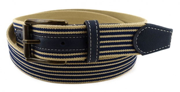 TigerTie - Stretchgürtel dunkelblau marine, beige gestreift - Bundweite 110 cm