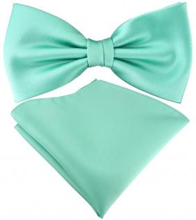 TigerTie Satin Fliege + TigerTie Einstecktuch in grün mint Uni Einfarbig + Box