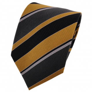TigerTie Seidenkrawatte gold anthrazit schwarz silber gestreift - Krawatte Seide