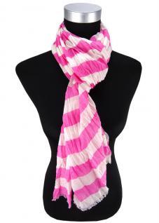 Halstuch in rosa pink weiß gestreift Gr. 180 cm x 50 cm - Tuch Schal Baumwolle