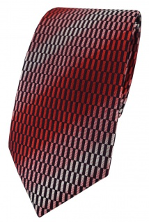 TigerTie Designer Krawatte in rot verkehrsrot rose schwarz silber grau gemustert