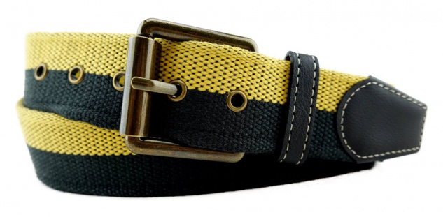 TigerTie - Stoffgürtel in gelb schwarz zweifarbig - Bundweite 110 cm