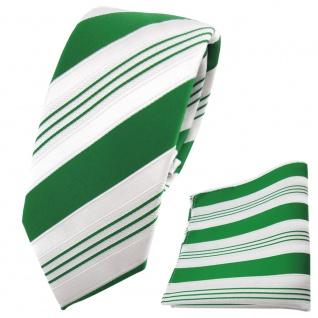 schmale TigerTie Krawatte + Einstecktuch grün smaragdgrün weiß silber gestreift