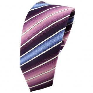Schmale TigerTie Krawatte lila dunkellila rosa blau creme gestreift - Tie Binder