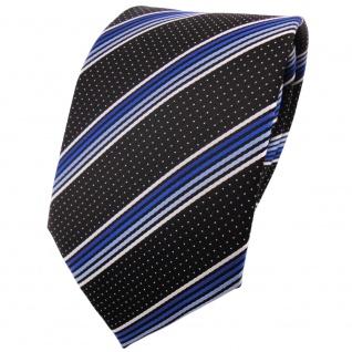 schöne TigerTie Krawatte in blau hellblau silberweiss schwarz gestreift - Binder