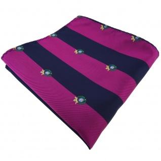 TigerTie Einstecktuch lila violett pupur dunkelblau gestreift mit Wappen