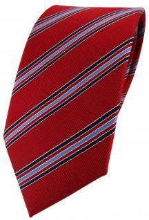 TigerTie Seidenkrawatte rot blutrot blau gestreift - Krawatte 100% Seide Silk