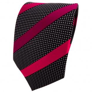 TigerTie Designer Krawatte rot bordeaux schwarz silber gestreift -Schlips Binder