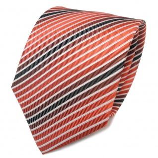 TigerTie Seidenkrawatte orange anthrazit weiß gestreift - Krawatte Seide - Vorschau 1