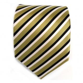 Designer Krawatte - Schlips Binder grün hellgrün schwarz weiss gestreift - Tie - Vorschau 2
