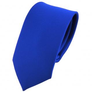 Schmale Kinderkrawatte Satin blau marine royal uni einfarbig - Krawatte Schlips