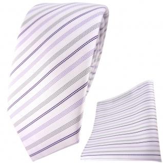 schmale TigerTie Krawatte + Einstecktuch in lila weiss flieder silber gestreift - Vorschau