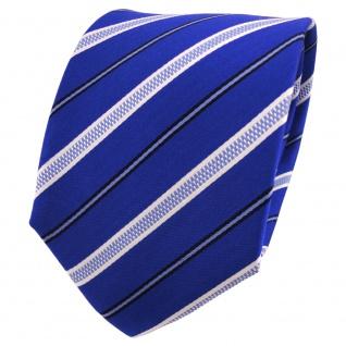 TigerTie Seidenkrawatte blau marine dunkelblau weiß gestreift - Krawatte Seide