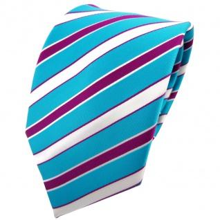 TigerTie Krawatte türkis türkisblau weiß magenta lila gestreift - Binder Tie