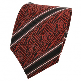 TigerTie Designer Seidenkrawatte orange schwarz silber gestreift - Krawatte Silk