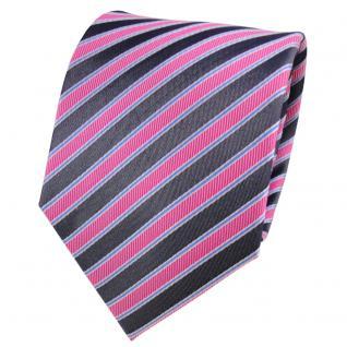 TigerTie Seidenkrawatte rosa pink anthrazit blau silber gestreift - Krawatte Tie